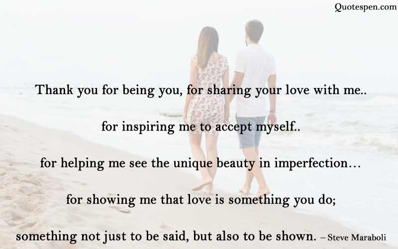 thank you for being you - love quote for husband