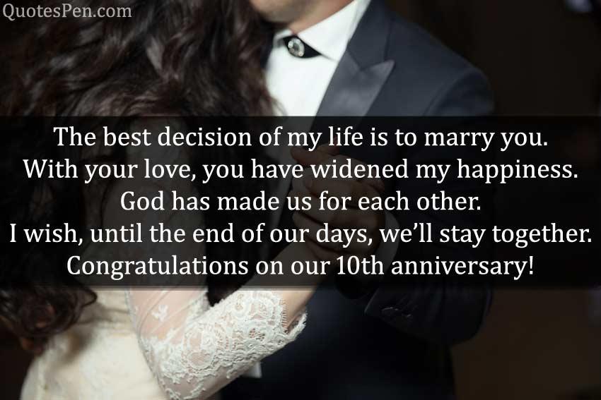 celebrate 10th years wedding anniversary