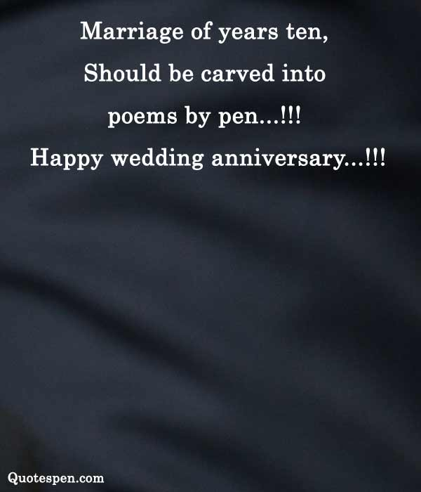 10 year wedding anniversary wishes for a couple