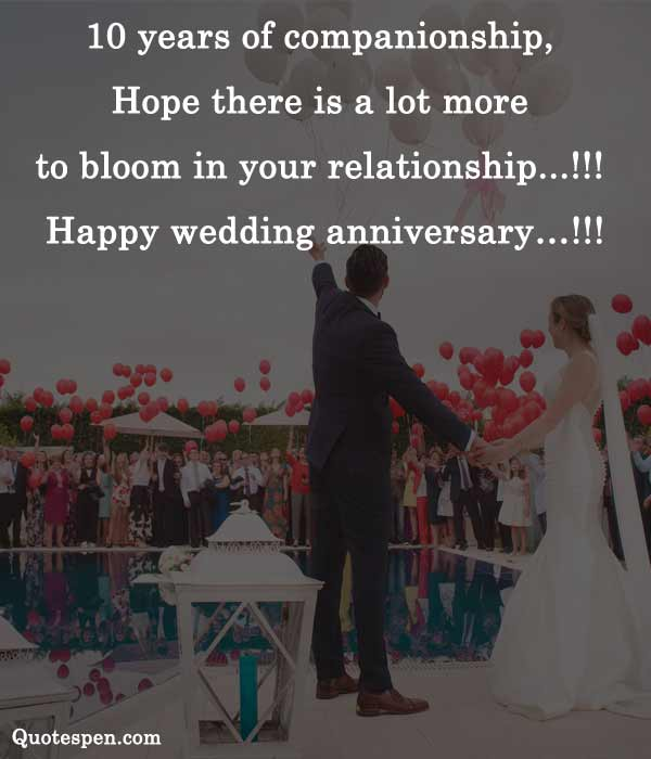 10th wedding anniversary wishes for a couple