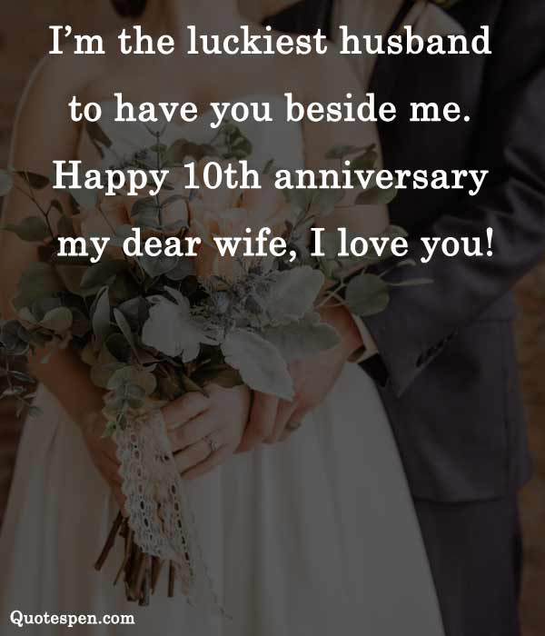 10th wedding anniversary wishes to wife from husband in english