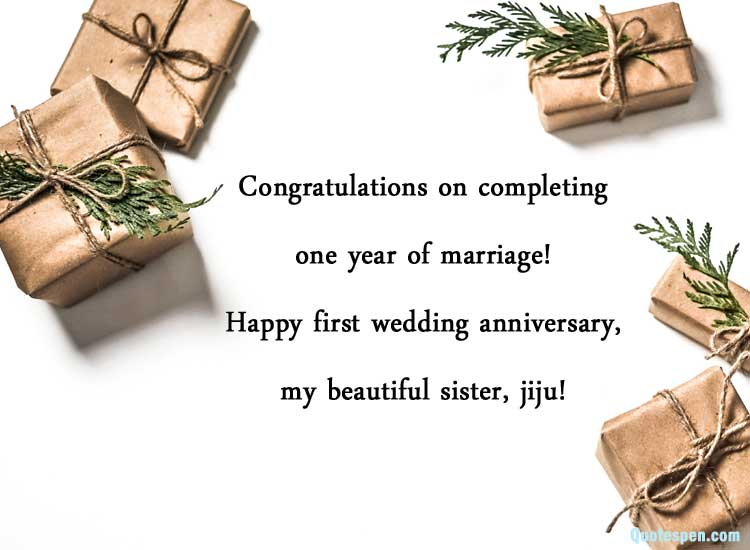 1st Wedding Anniversaery Wishes for Sister and Jiju