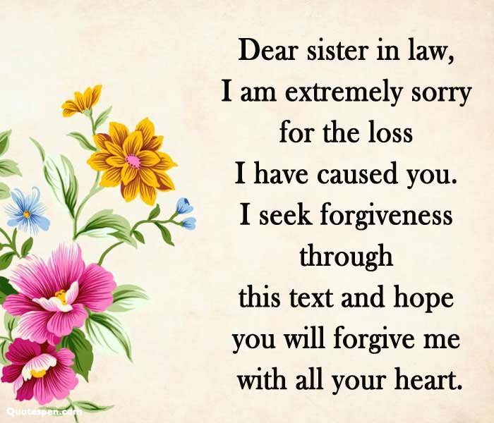 sorry quotes for sister in law